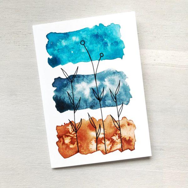 Grusskarte siena blau