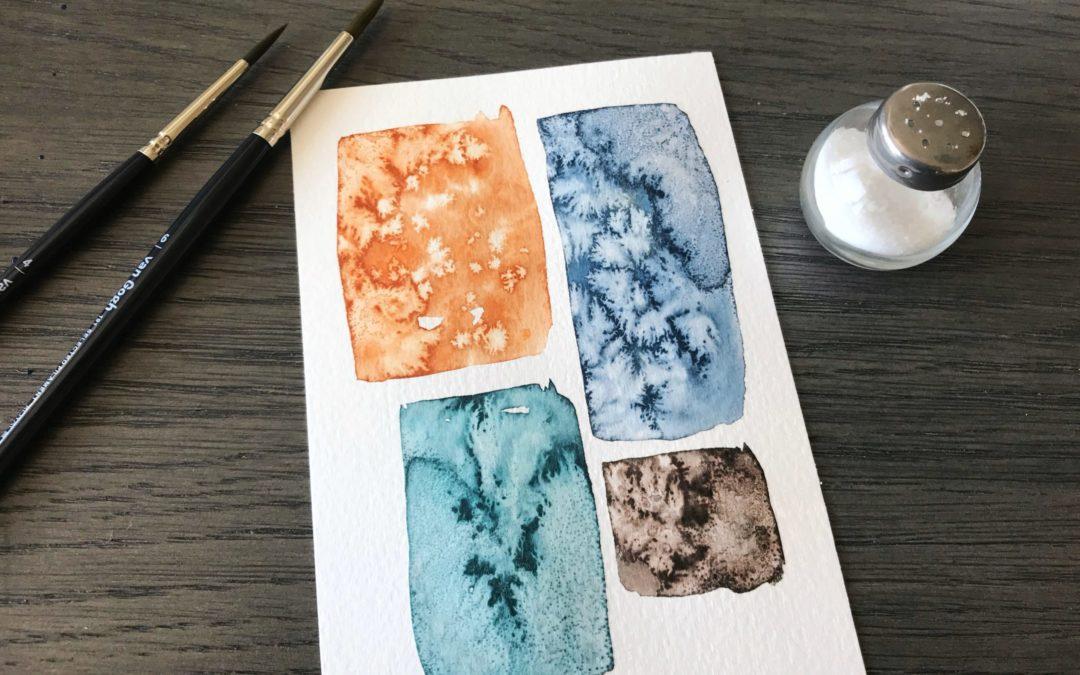 Effekt mit Salz und Aquarellfarbe