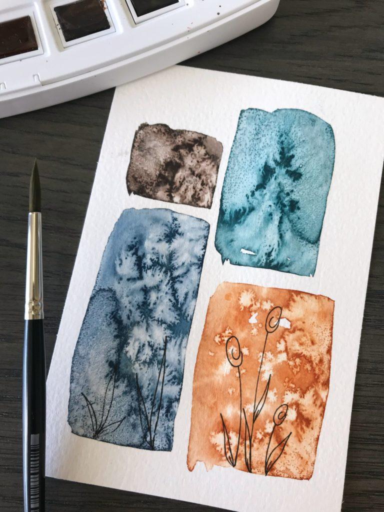 Bild mit Aquarellfarbe