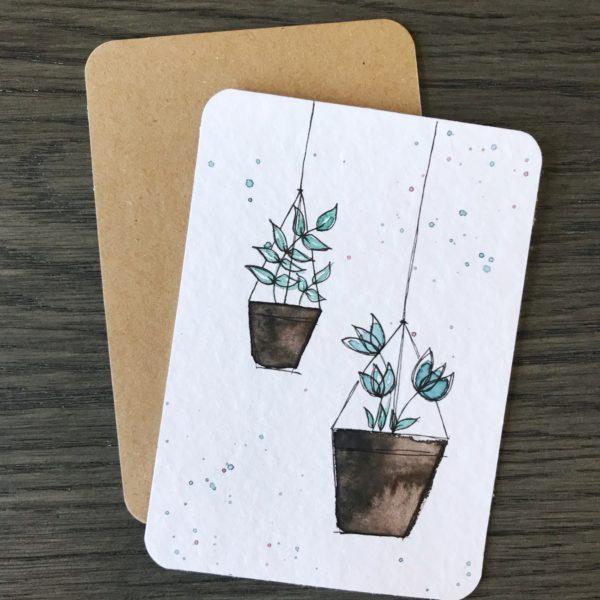 Handgemalte Postkarte Hanging Plants