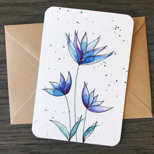 Handgemalte Postkarte Deep Blue