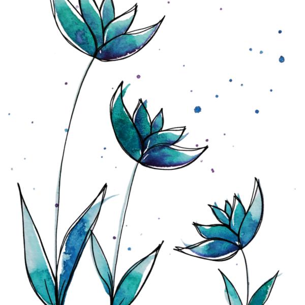 Türkis Blumen