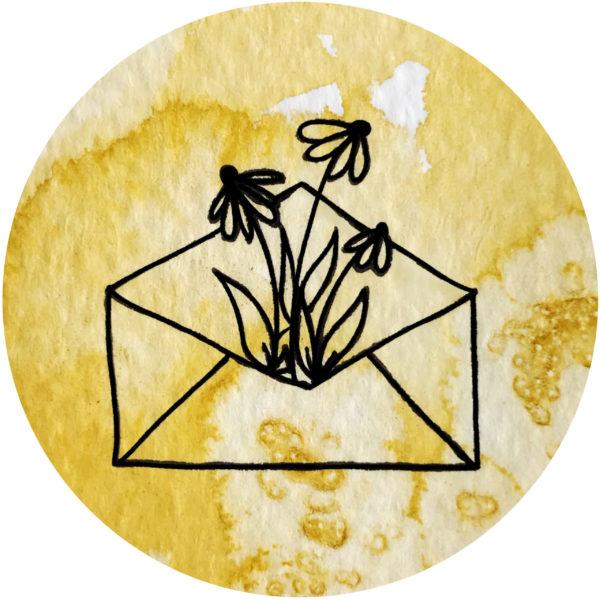 Kuvert mit Blumen gelb