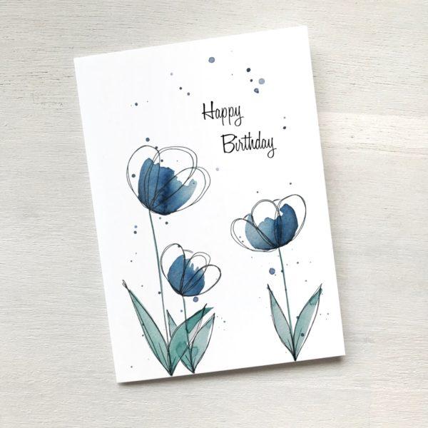 Karte mit blauen Blumen zum Geburtstag