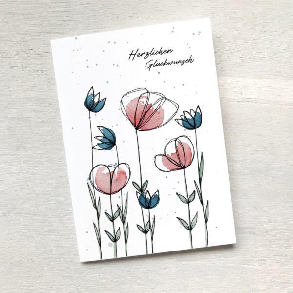 Karte mit Blumenwiese zum Geburtstag