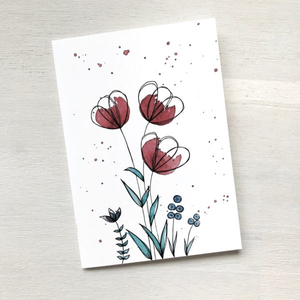Karte mit roten Blumen