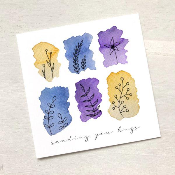 Karte mit floralem Muster sending you hugs