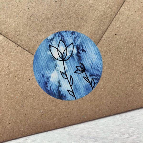 Sticker blau mit Blumen Detailansicht
