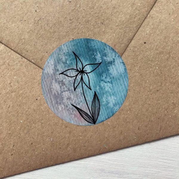 Sticker türkis mit Blume Detailansicht