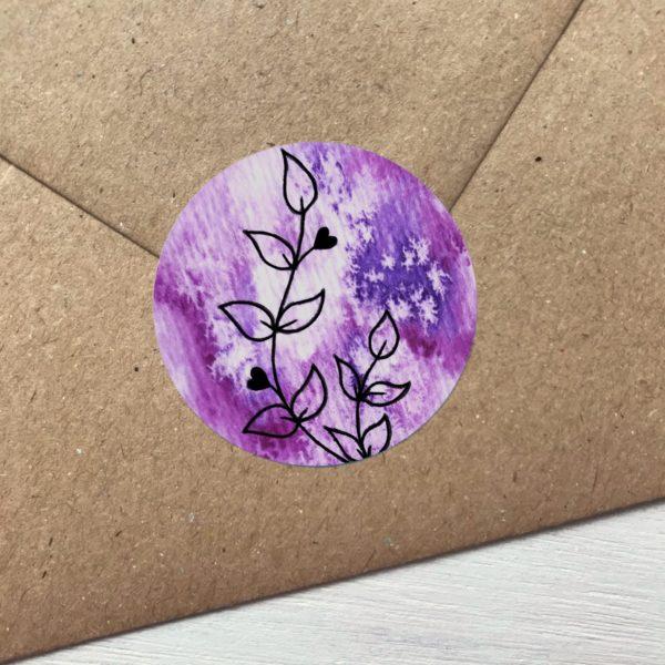 Sticker violett mit Blumen Detailansicht