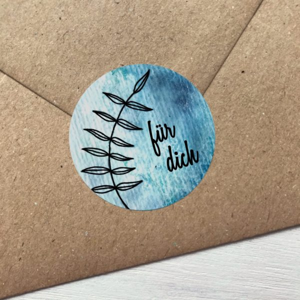 Sticker blau für dich Detailansicht