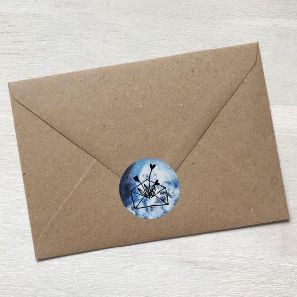 Sticker blau mit Blumen aus Kuvert