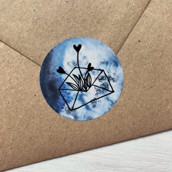 Sticker blau mit Blumen aus Kuvert Detailansicht
