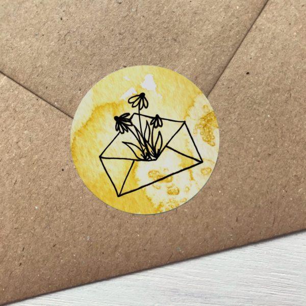 Sticker gelb mit Blumen aus Kuvert Detailansicht
