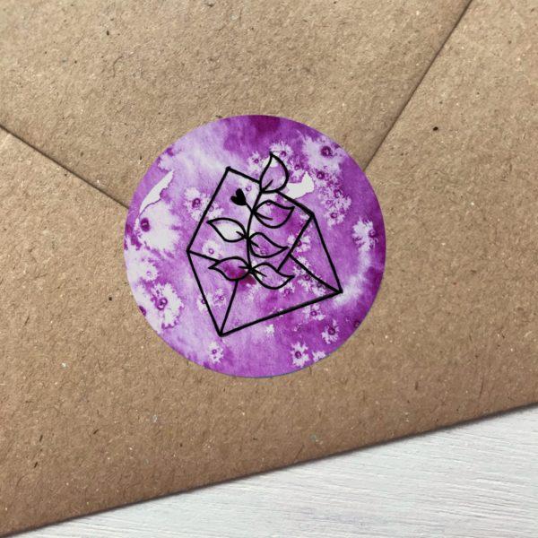 Sticker violett mit Blume aus Kuvert Detailansicht