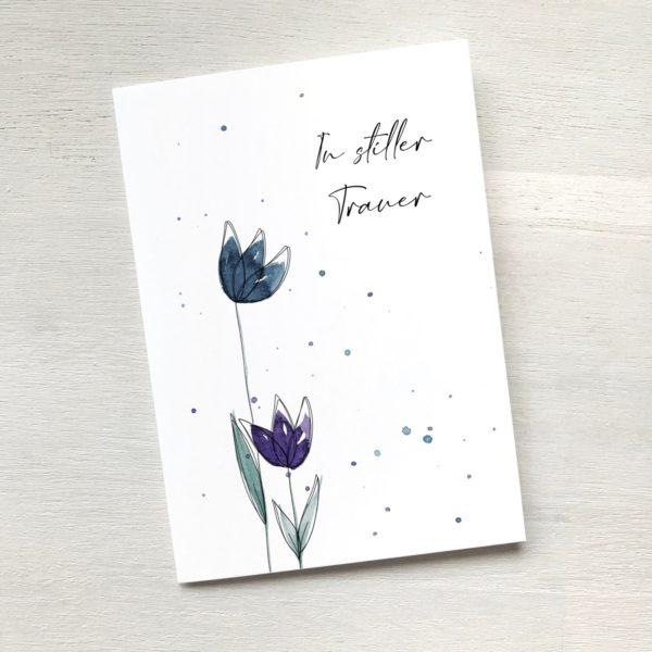 Beileidskarte mit zwei Blumen, Trauerkarte