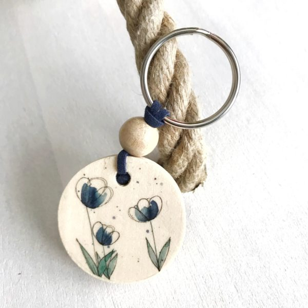 Schlüsselanhänger Blume blau