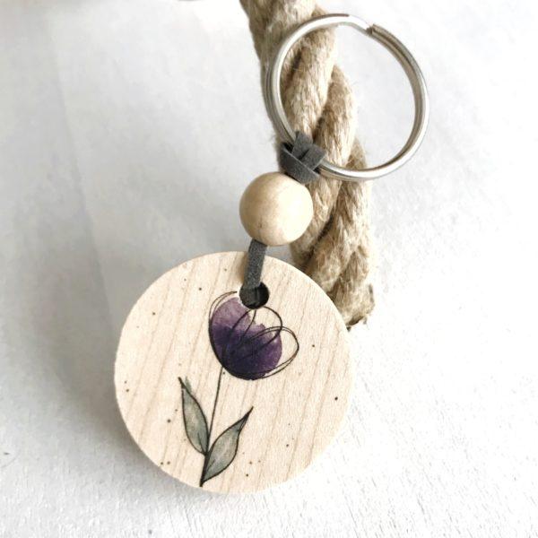 Schlüsselanhänger Blume violett