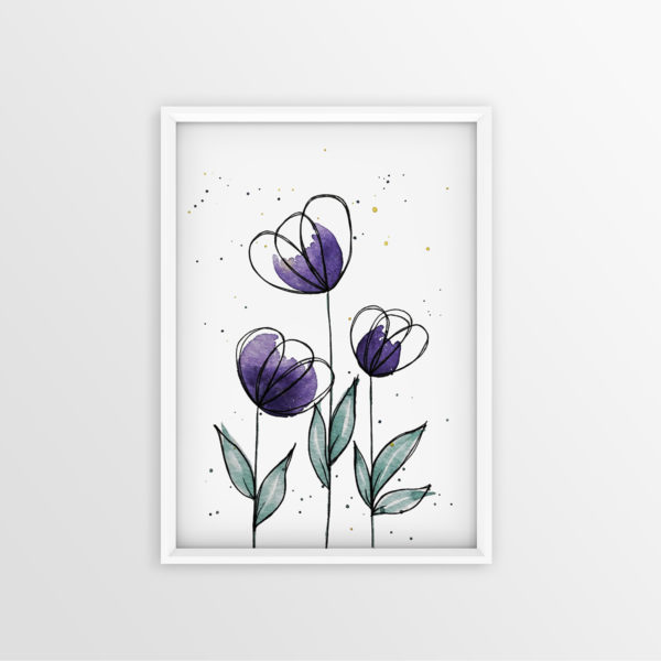 Art Print Violette Blumen