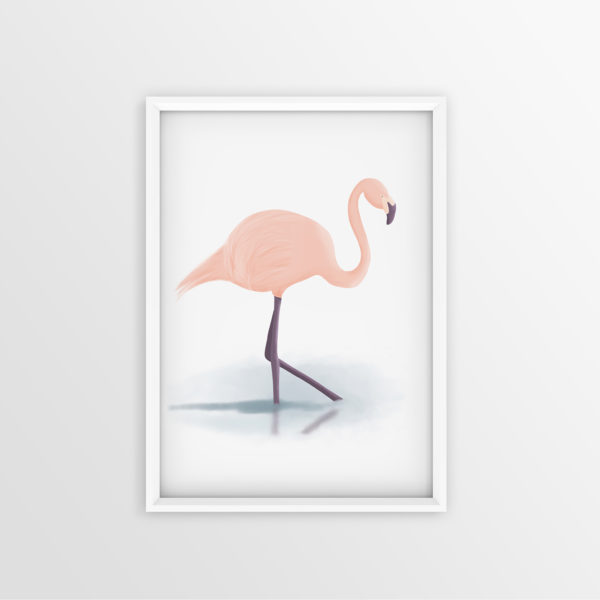 Art Print digitaler Flamingo
