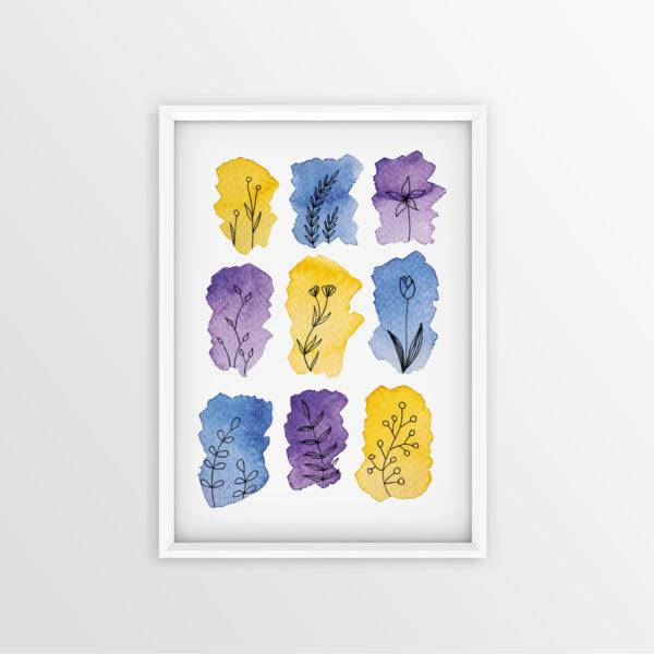 Art Print Gelb Violett Blau