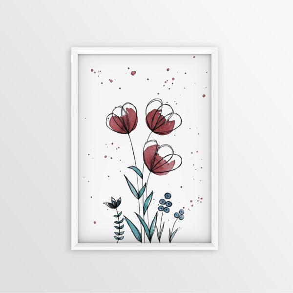 Art Print Rote Blumen