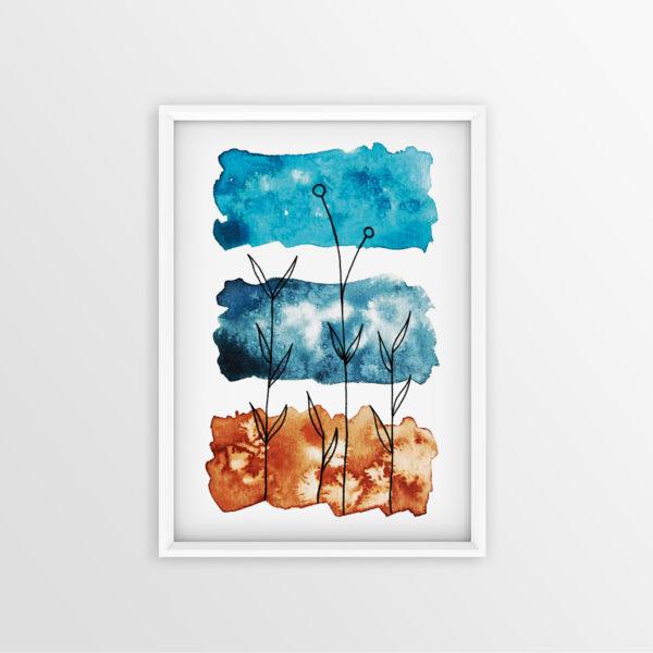 Art Print Aquarell Sienna Blau