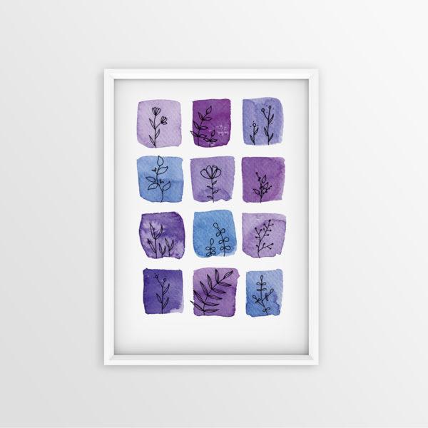 Art Print Aquarell violett