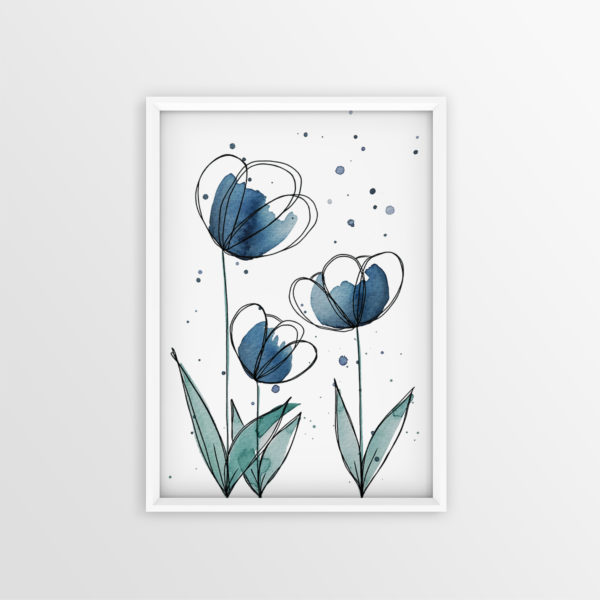 Art Print Blaue Blumen